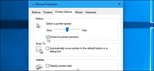 Windows 10 Enhance Pointer Precision